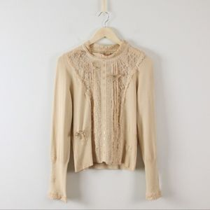 Anthropologie Cross Stitch Heart Lace Knit Top